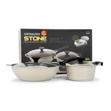 乐扣乐扣(LOCK&LOCK) Stone石头系列 20cm奶锅汤锅+32cm中式炒锅(玻璃可视顶盖 LCA6202DSH102