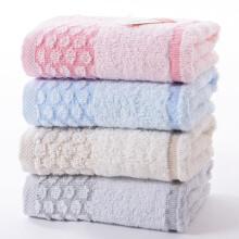 金号 毛巾家纺 纯棉素色条纹洗脸面巾 四条装 提缎款 红/灰/棕/蓝 66g/条 65*34cm