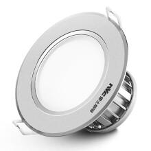 雷士(NVC)雷士照明 LED筒灯天花灯 4瓦金属铝材漆白 4瓦暖白光4000K 开孔7.5-8.5厘米 4瓦砂银铝材-暖黄-开孔7.5-8.5cm