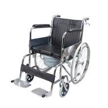 AUFU 佛山轮椅 老人轻便折叠轮椅车 带手刹助行器 带座便优质钢管加固大轮