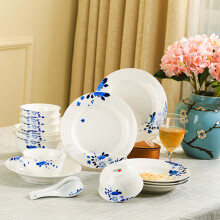 京东超市红叶 餐具20头碗碟套装盘子陶瓷景德镇青花瓷兰馨