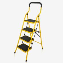 宝优妮 人字梯家用室内可折叠加厚四步梯子 黄色 DQTY04