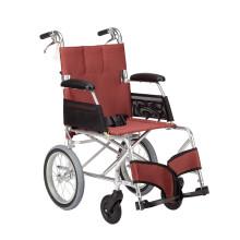 中进轮椅 依赛哈专款老人轮椅 折叠轻便 日本进口航太铝合金 旅行旅游可折叠超轻便携式老年人四轮代步车 加宽款红色小轮