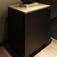 尼德(Need)办公可移动带轮推柜子 钢板铁皮三抽屉带锁文件资料柜 AD9BB-E1环保 柚木面黑柜体