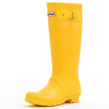 PaulFrank 大嘴猴雨鞋高筒时尚纯色雨靴防水胶鞋套鞋 PF1015 黄色 37码