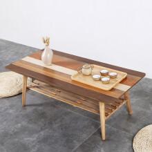 慧乐家 边桌茶几 小户型客厅家具 日式创意多色拼木方形茶几 现代简约咖啡桌 100*47.5cm  33131