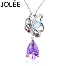 羽兰JOLEE 项链 S925银天然紫水晶吊坠简约彩色宝石小清新锁骨链饰品送女友生日礼物