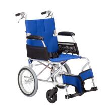 中进轮椅 依赛哈专款老人轮椅 折叠轻便 日本进口航太铝合金 旅行旅游可折叠超轻便携式老年人四轮代步车 42坐宽蓝色小轮