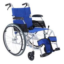 中进轮椅 依赛哈专款老人轮椅 折叠轻便 日本进口航太铝合金 旅行旅游可折叠超轻便携式老年人四轮代步车 42坐宽蓝色大轮