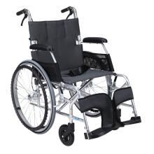 中进轮椅 依赛哈专款老人轮椅 折叠轻便 日本进口航太铝合金 旅行旅游可折叠超轻便携式老年人四轮代步车 加宽款灰色大轮