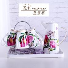 嘉蘭 杯具套裝 家用涼水杯陶瓷歐式骨瓷水具杯子 木棉花
