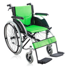 AUFU 佛山轮椅 老人轻便折叠轮椅车 带手刹助行器 流线型车架加强铝合金大轮