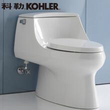 科勒(KOHLER)圣拉菲尔4.8升五级旋风马桶 座便器连体坐便器K-5483T/5527 400坑距缓降盖5527T+18659 送货入户