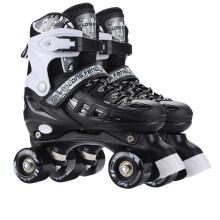 隆峰正品溜冰场溜冰鞋儿童双排轮滑鞋成人成年旱冰鞋滑冰鞋可调男女套装 黑色鞋子一双 L码(39码-42码)