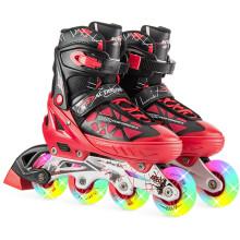 动感ACTION溜冰鞋儿童全套装可调成人直排轮男女溜冰鞋PW-153B-21 红黑全闪单鞋 L/40-43码可调