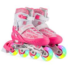 动感ACTION溜冰鞋儿童全套装可调成人直排轮男女溜冰鞋PW-153B-21 粉红色全闪单鞋 M/37-40码可调