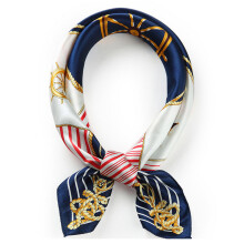 GLO-STORY 桑蚕丝丝巾女四季百搭小方巾印花气质装饰方巾WSJ724307 3号蓝色
