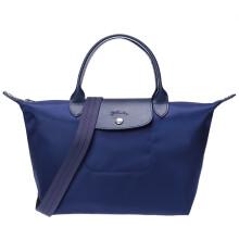 珑骧 LONGCHAMP 女士Le Pliage Néo系列织物短柄手提单肩包饺子包深蓝色小号 1512 578 001
