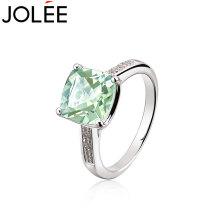 羽兰JOLEE绿水晶戒指S925银指环时尚韩版饰品送女友孝敬老婆礼物绿色 绿色 13#