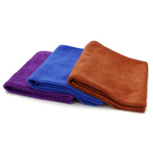 奥吉龙 洗车毛巾三条装 擦车布专用加厚吸水不掉毛大小号多功能刷车巾蓝色紫色咖啡