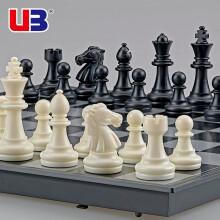 友邦(UB) 国际象棋黑白色磁性可折叠便携成人儿童学生培训教学用棋 3810B-C(黑白直角中号)