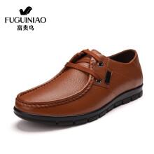 富贵鸟(FUGUINIAO) 韩版时尚头层牛皮潮流休闲鞋舒适男皮鞋A603101 土黄 40