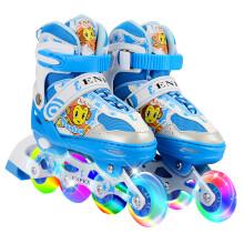 ENPEX 溜冰鞋儿童滑冰鞋直排轮滑鞋男宝宝旱冰鞋可调节 170蓝色 M(36-39)