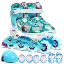 迪士尼(Disney)儿童溜冰鞋八轮全闪轮滑鞋LED三档调节旱冰鞋套装DCB71136-Q8冰雪奇缘中码