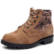 强人羊毛款防寒耐磨男士保暖棉劳保短靴 迷彩大头皮鞋 迷彩 40码