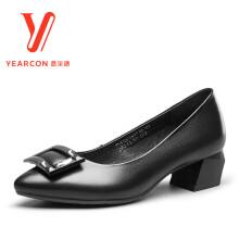 意尔康女鞋粗跟尖头中跟时尚百搭舒适职场女士通勤浅口单鞋7551DE26553W 黑色 37
