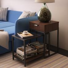 潮土茶几现代简约可伸缩沙发组合边几边桌黑胡桃色2017