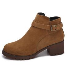 骆驼(CAMEL) 女鞋 英伦皮带扣饰时尚高跟短靴 A74514625 棕色 39