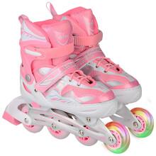 乐士(ENPEX) 溜冰鞋 儿童 成人 轮滑鞋 男女闪光轮旱冰鞋滑冰鞋  S号 红色(送护具路障) 粉色经典款 前轮单闪