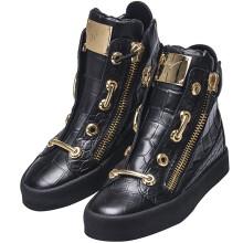 Giuseppe Zanotti 朱塞佩・萨诺第 男士黑色鳄鱼纹牛皮拉链高帮休闲鞋 RM5076 00211 43码