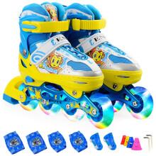 乐士(ENPEX) 溜冰鞋 儿童 轮滑鞋 八轮全闪光旱冰鞋滑冰鞋 MS170 黄色 S(30-33码/送护具路障)