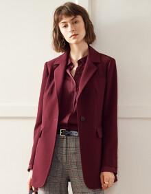 颜域简约西装外套女2020春装时尚收腰修身显瘦气质职业小西服 红色 L/40