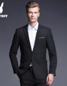 花花公子西服套装男修身职业装正装商务男士工作西装结婚新郎礼服外套1粒扣 HH-HZXF428Y 单衣黑色 XS