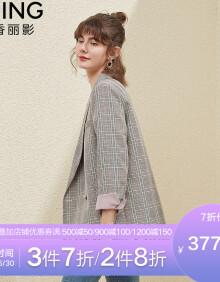 衣香丽影2020韩版格子西装外套女士设计感英伦风小西服小个子 烟灰格 S