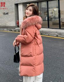 高梵(GOLDFARM)2020年秋冬羽绒服女中长款时尚毛领高端加厚韩版冬外套女  砖红 M