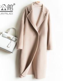 雷公馆 毛呢大衣女羊毛呢外套西装领2020冬季休闲百搭宽松显高显瘦双面呢呢子大衣 BN米色D82035 L