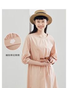 茵曼(INMAN)2020年棉素系列春装新款纯棉圆领时尚复古显瘦A字连衣裙女 1801|749 土卡其 S