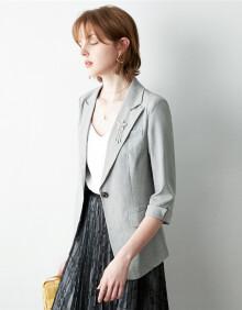 颜域修身显瘦西装外套女夏装2020女士薄款时尚气质七分袖西服 灰色 L/40