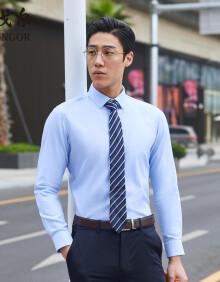雅戈尔 衬衫男士 2020春季青年男休闲正装衬衫 GLDP100219IFA 浅蓝格子 42