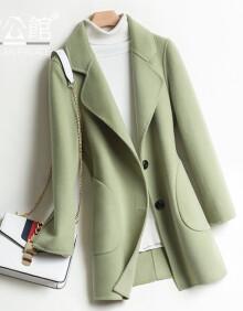 雷公馆 毛呢大衣女双面羊毛呢外套2020冬季中短款休闲百搭气质修身显瘦羊毛呢呢子大衣 牛油果绿BND82001 S