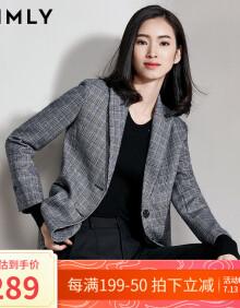 梵希蔓复古格子西装外套女春秋新款职业休闲韩版长袖修身西服 30099 蓝色 XL