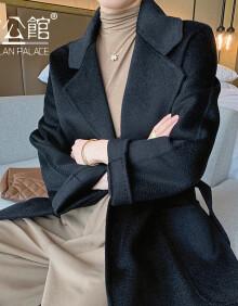 雷公馆 毛呢大衣女水波纹羊毛呢子外套2020冬季中长款宽松显瘦百搭气质纯色双面呢子大衣 SNJ气质黑3030 M