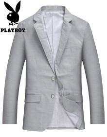 花花公子 PLAYBOY 2019春季新款休闲天丝西服外套型男正装上衣 68591004 灰色 170
