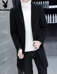 花花公子风衣男韩版春秋季中长款毛呢大衣男士呢子外套冬季2018新款男装潮 黑色 XL