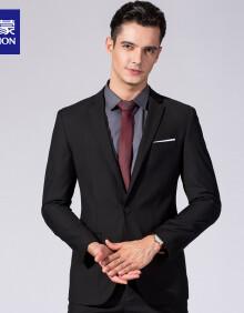 罗蒙(ROMON)西服套装男 2020新款西装商务职业修身正装结婚礼服套装西装男 6S8800499 黑色 48A(175/92A)