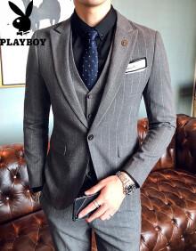 花花公子(PLAYBOY) 西服套装男新款商务休闲修身西服套装男英伦绅士西装三件套结婚礼服伴 X08黑色 XL